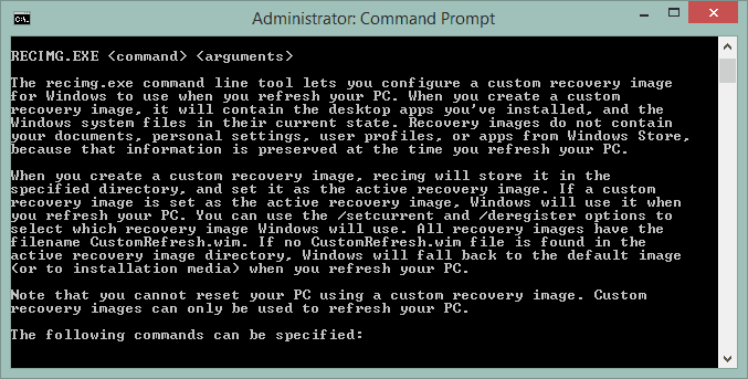 Screenshot of the RECIMG command running in Command Prompt in Windows 8