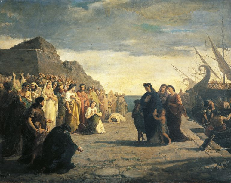 Agrippina arriving at port of Brindisi with Germano's ashes, by Cesare Caroselli (1847-1927), oil on canvas, Julio-Claudian dynasty, Italy