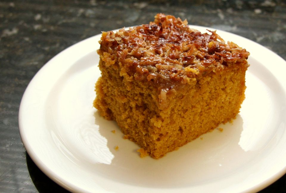 Pumpkin Cake With Broiled Coconut Topping