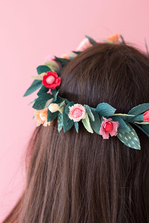 floral crepe paper hair wreath