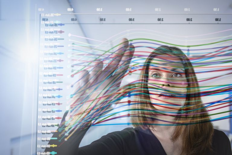 Businesswoman inspecting interactive graph