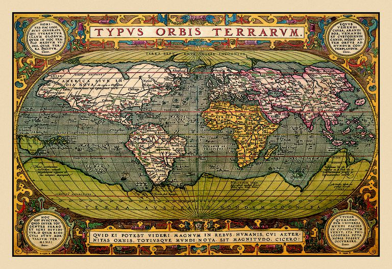 Picture of a world map from 1602.