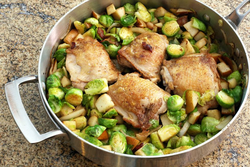 chicken thighs, brussels sprouts, pears, bacon