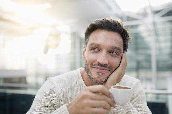 Man thinking positive