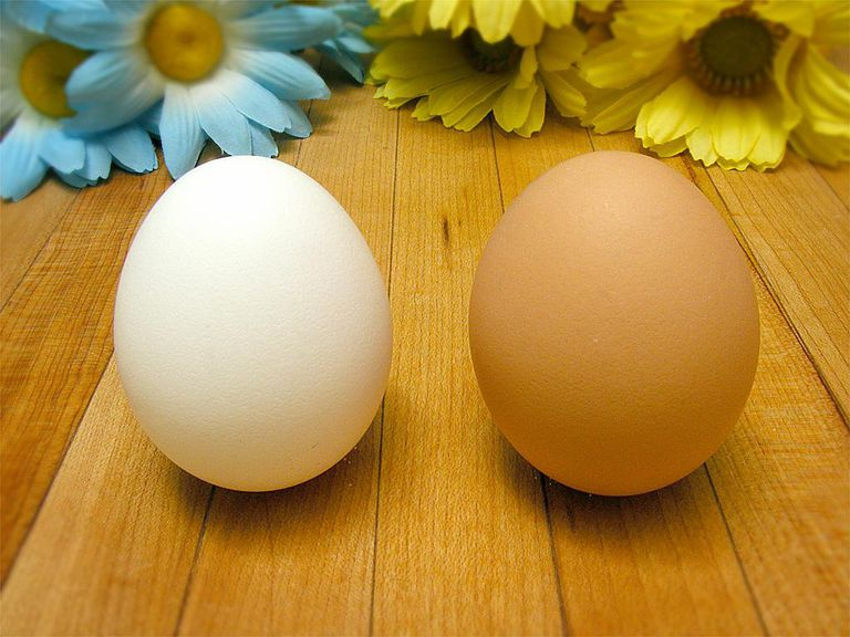 Two eggs, one white, one brown.