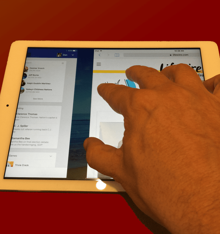 A multitouch gesture on the iPad.