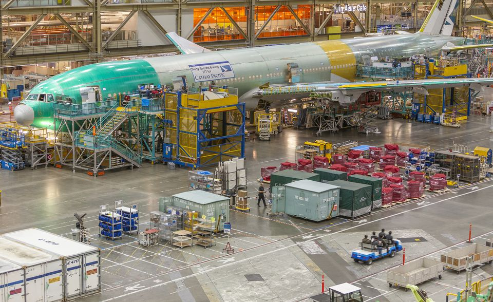 The factory floor at the Everett Boeing factory.