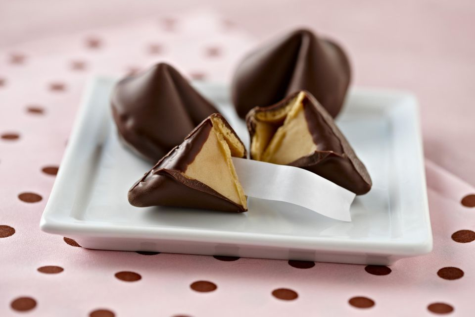 Chocolate covered fortune cookie
