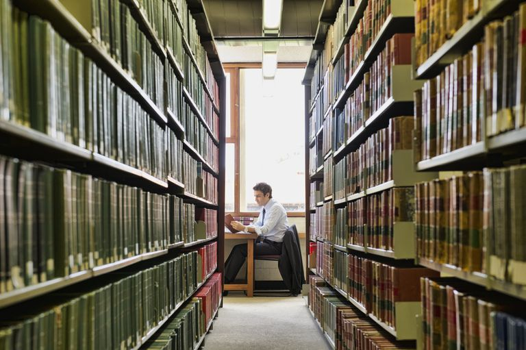 Man doing research in library