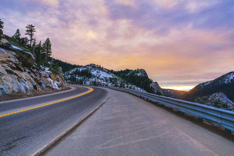 Majestic sunset on road to Lake Tahoe, California