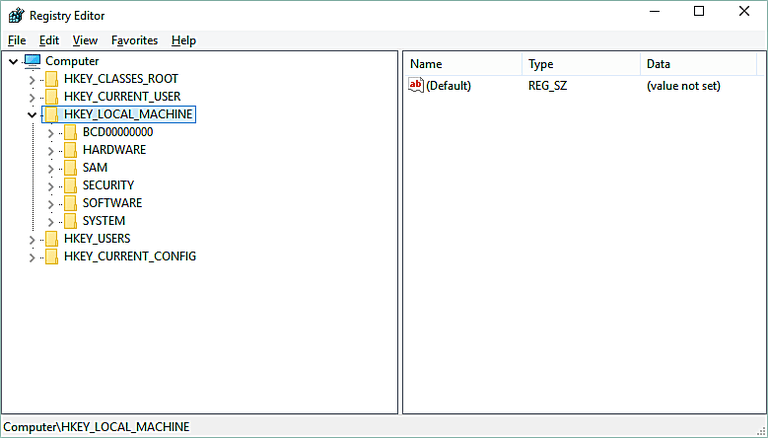 Screenshot of the HKEY_LOCAL_MACHINE hive in the Windows Registry in Windows 10