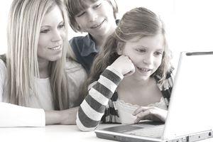 woman children laptop
