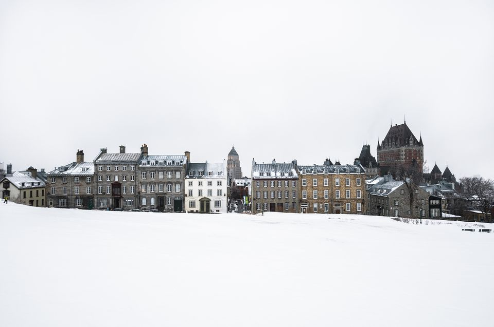View of snow covered park and old town, Quebec City, Quebec, Canada