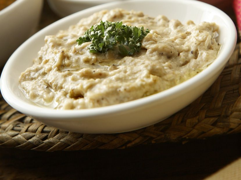 Homemade baba ghanoush topped with parsley