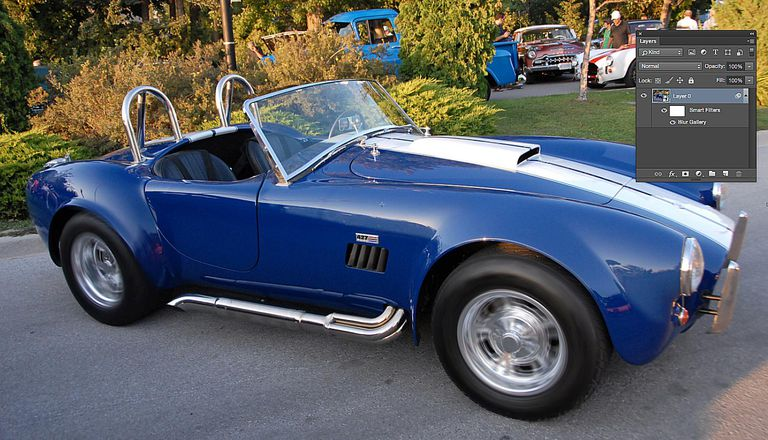 The original image- a blue sports car - is shown.