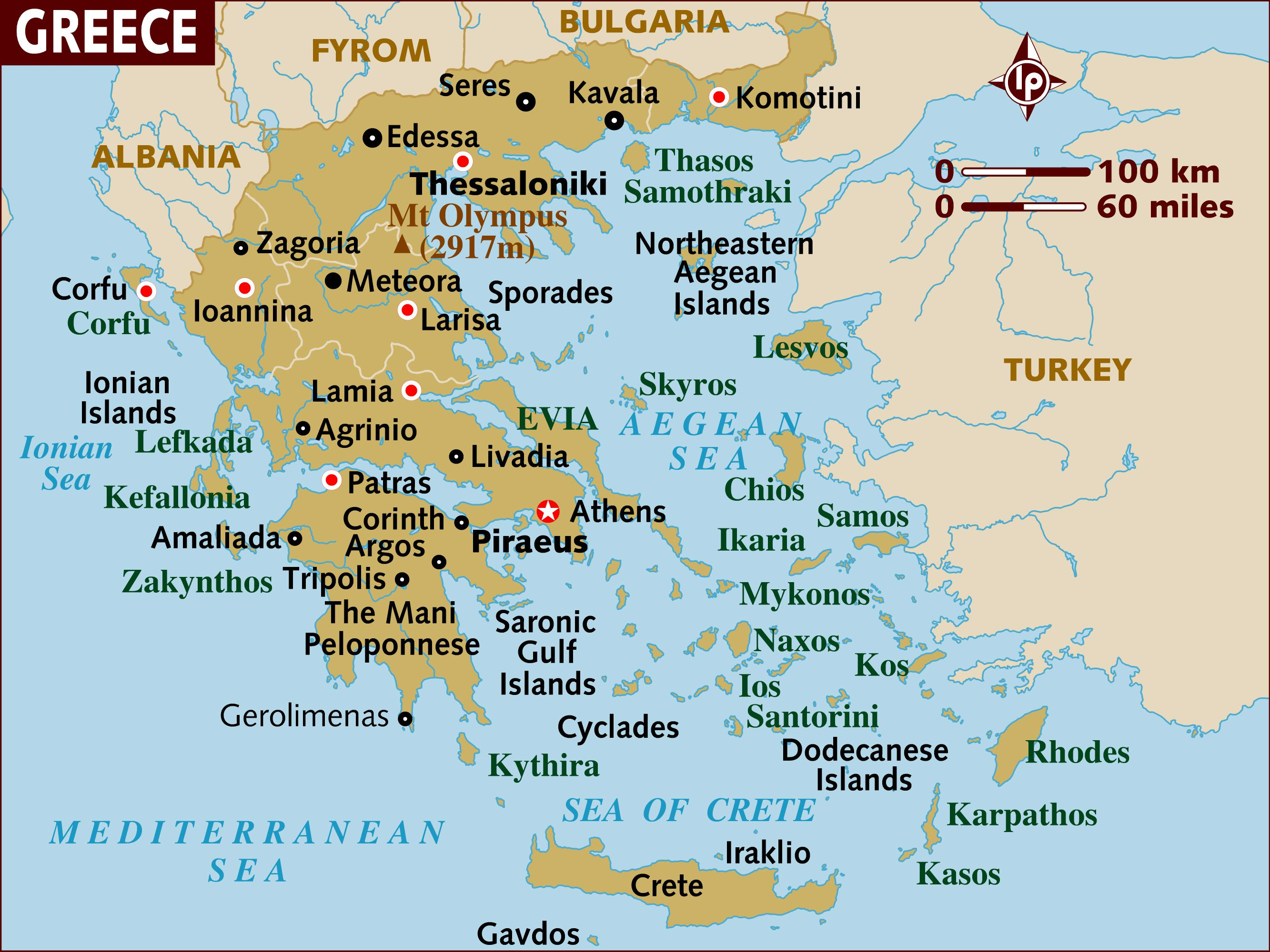 Map of Greece a Basic Map of Greece and the Greek Isles