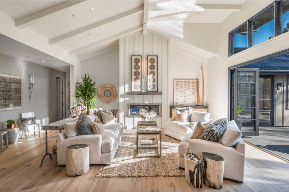 Living room in a modern farmhouse