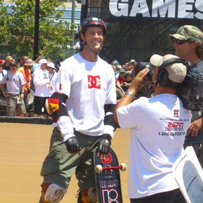 Danny Way sporting helmet and pads after winning the Big Air Finals at X Games