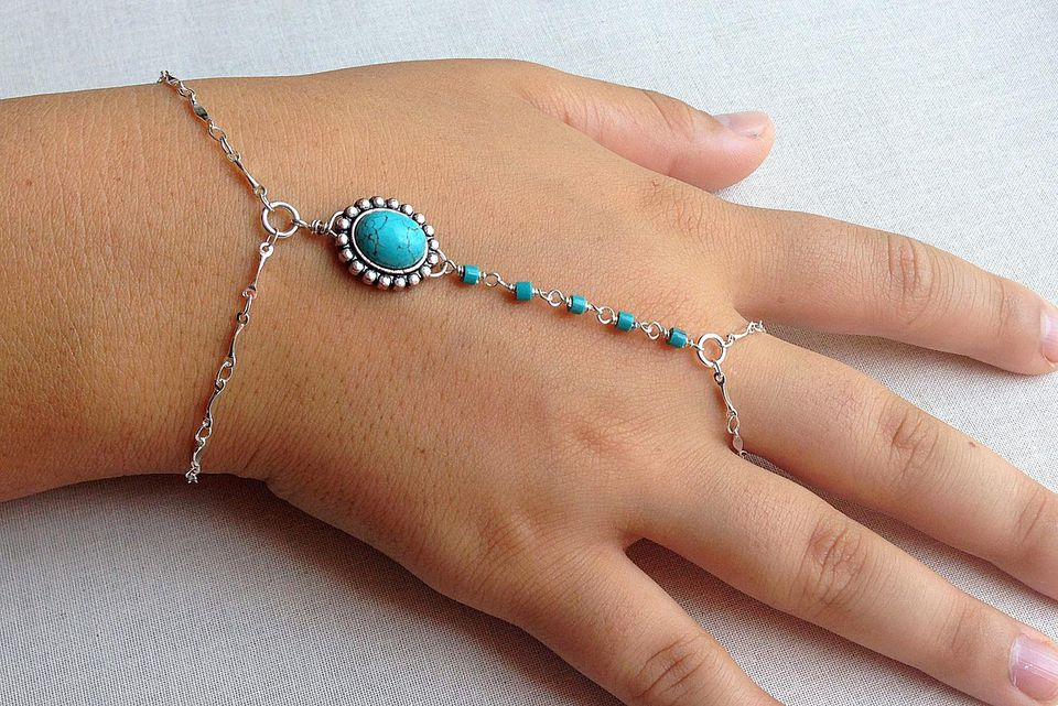 Turquoise Hand Chain Bracelet