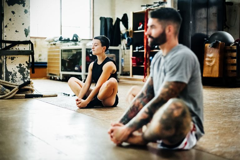 Athletes meditating