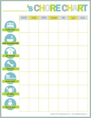 Free printable weekly chore charts for Chore chart for adults templates
