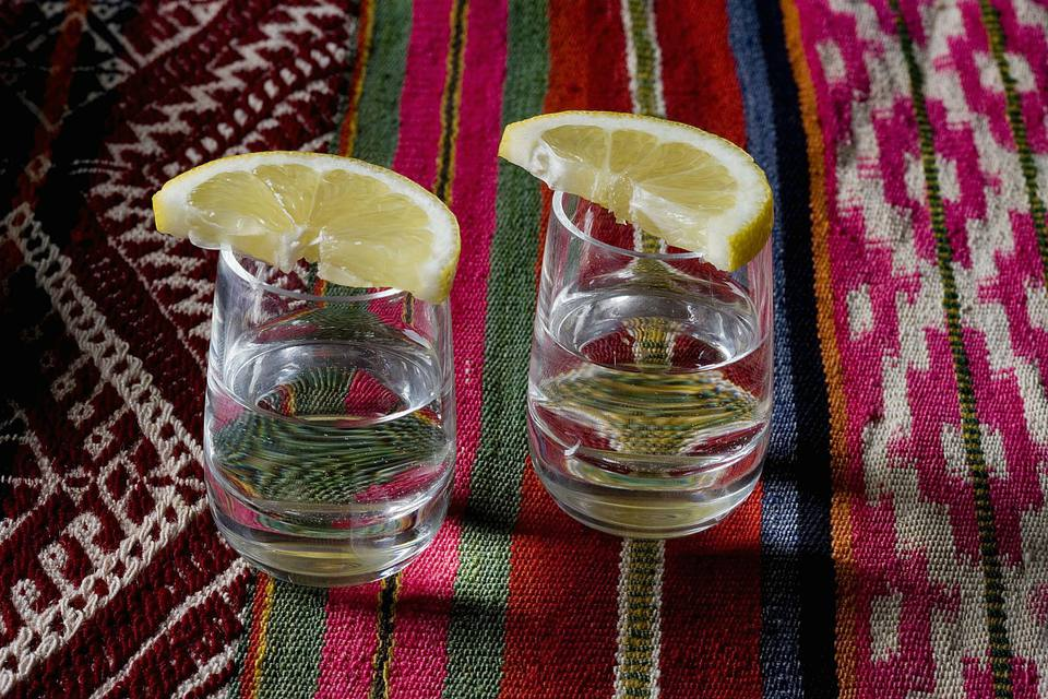 Stereotypical Mexican culture still life, tequila shots