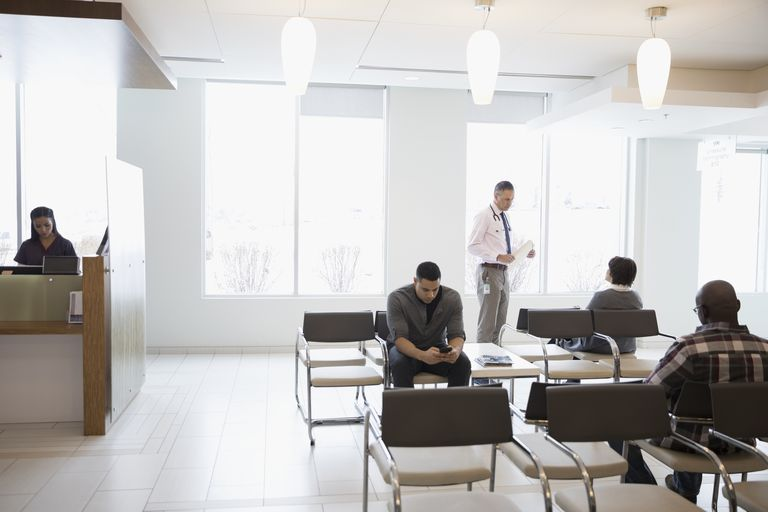 Doctor and patients in a waiting room