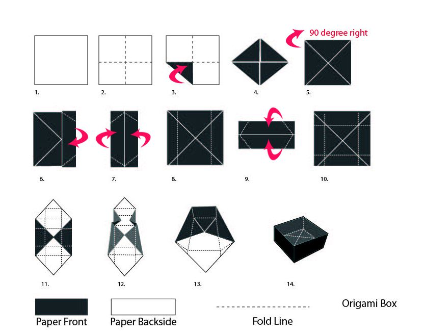 Diy origami gift box paper craft for How to build box steps