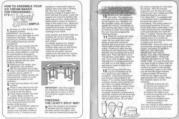Lickety Split Ice Cream Maker Instructions by Norelco
