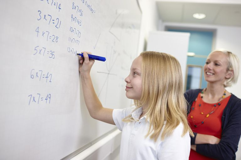 Schoolgirl doing multiplication on white board