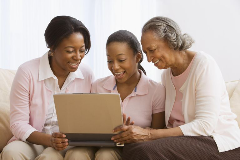 Three generations of African women using laptop