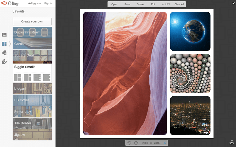 Screenshot of PicMonkey, the online collage maker