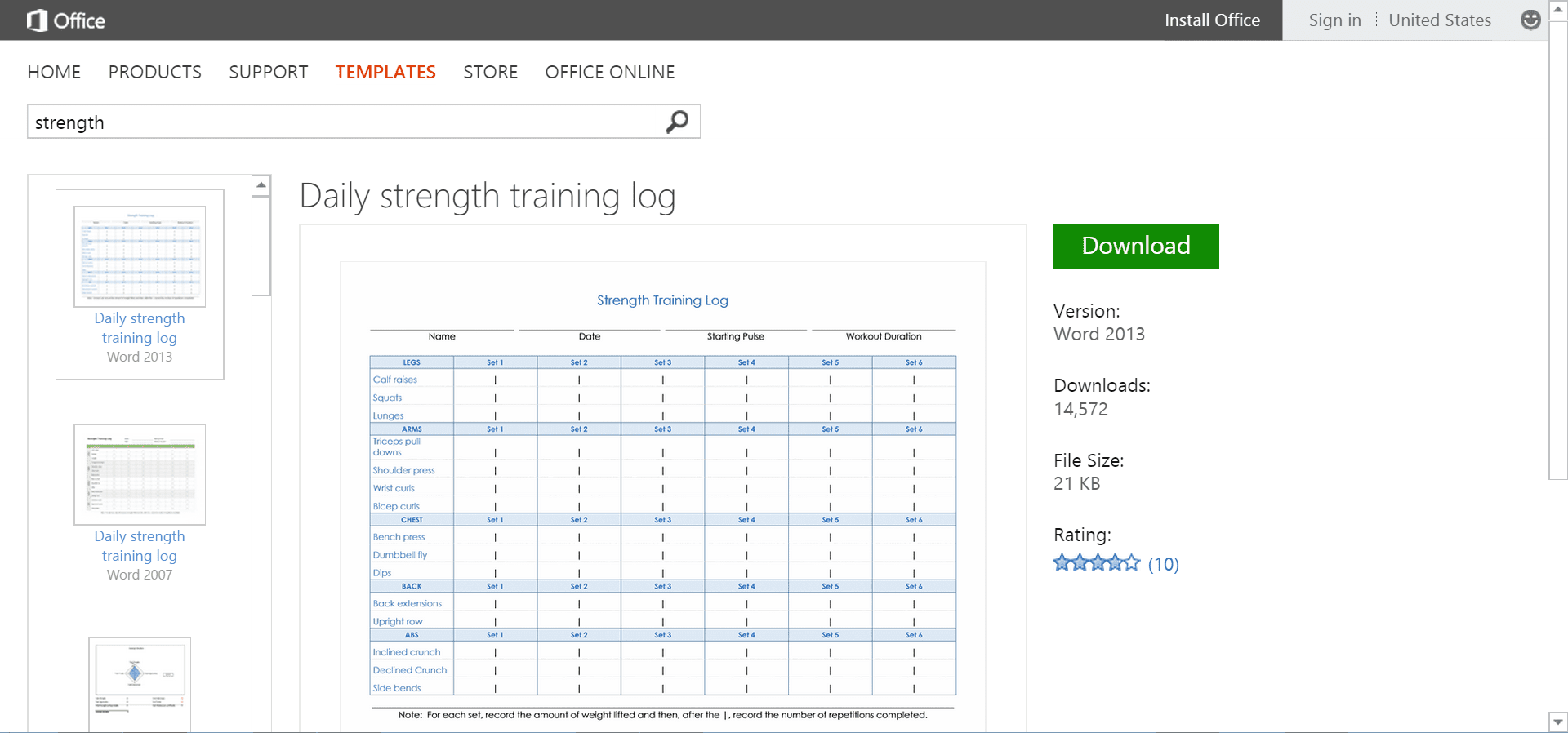 Free Office Templates or Printables for Fitness Goals – Training Log Template