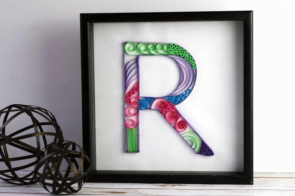 framed letter R quilled Monogram