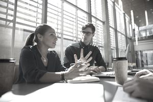 Businesswoman talking in office meeting