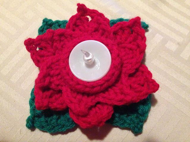 Poinsettia Tea Light Crochet Cozy