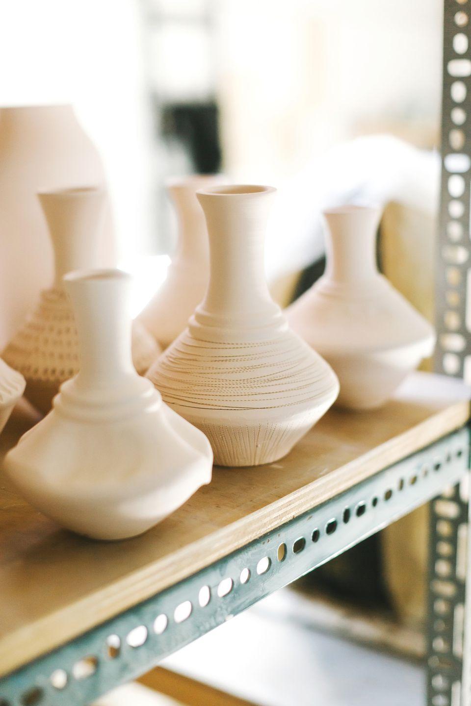 Pottery drying on shelf