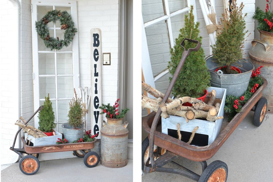 Red wagon Christmas porch