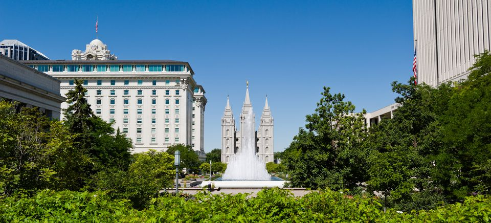 Fountain in front of a church, Mormon Temple, Temple Square, Salt Lake City, Utah, USA