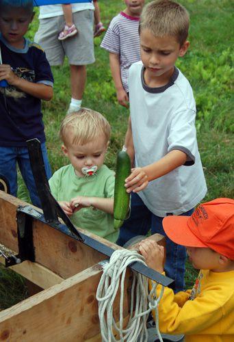 Zucchini Festival Photo - Kids Look at Zucchinis and Zukapults