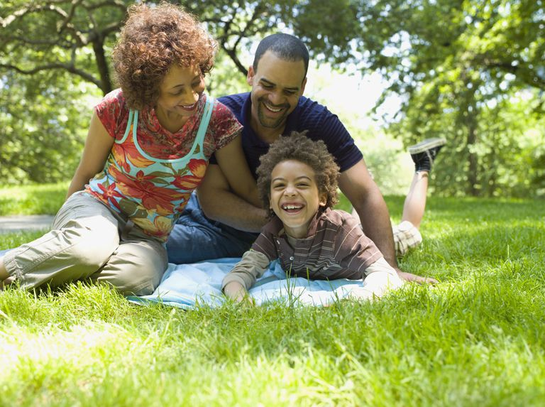 Parents with happy son on a blanket in the park