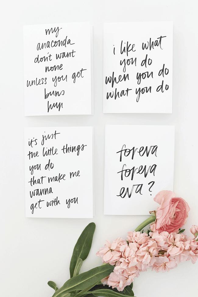 DIY Rap Lyrics Valentine's Day Cards