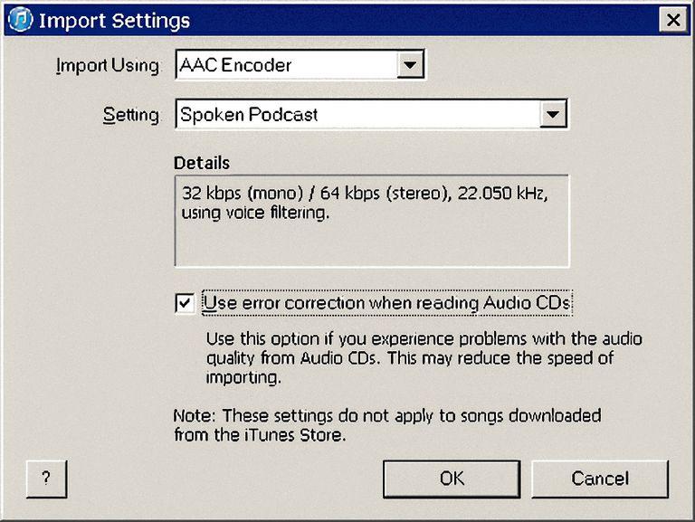 iTunes Import Settings For Audiobooks
