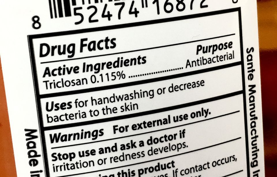 Triclosan on label