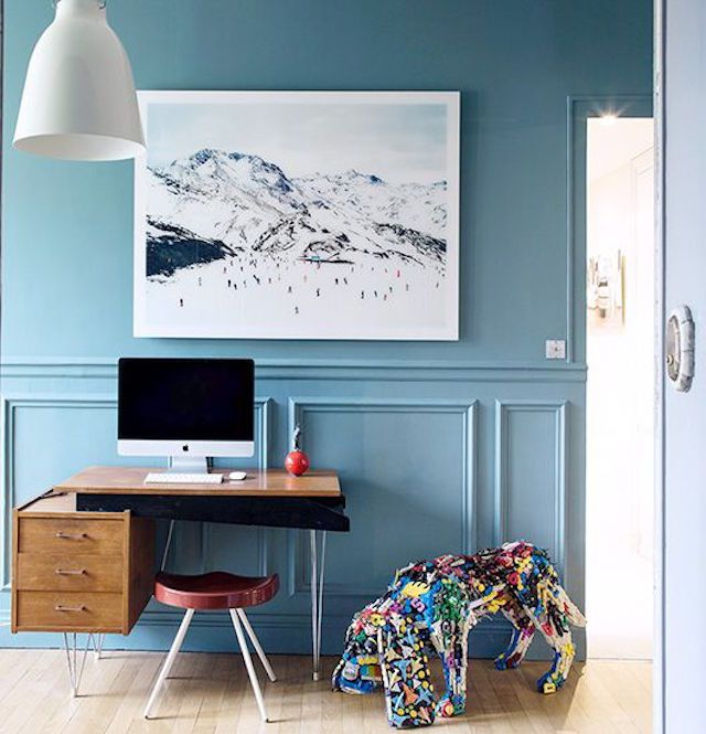 Home office with bright, refreshing blue walls