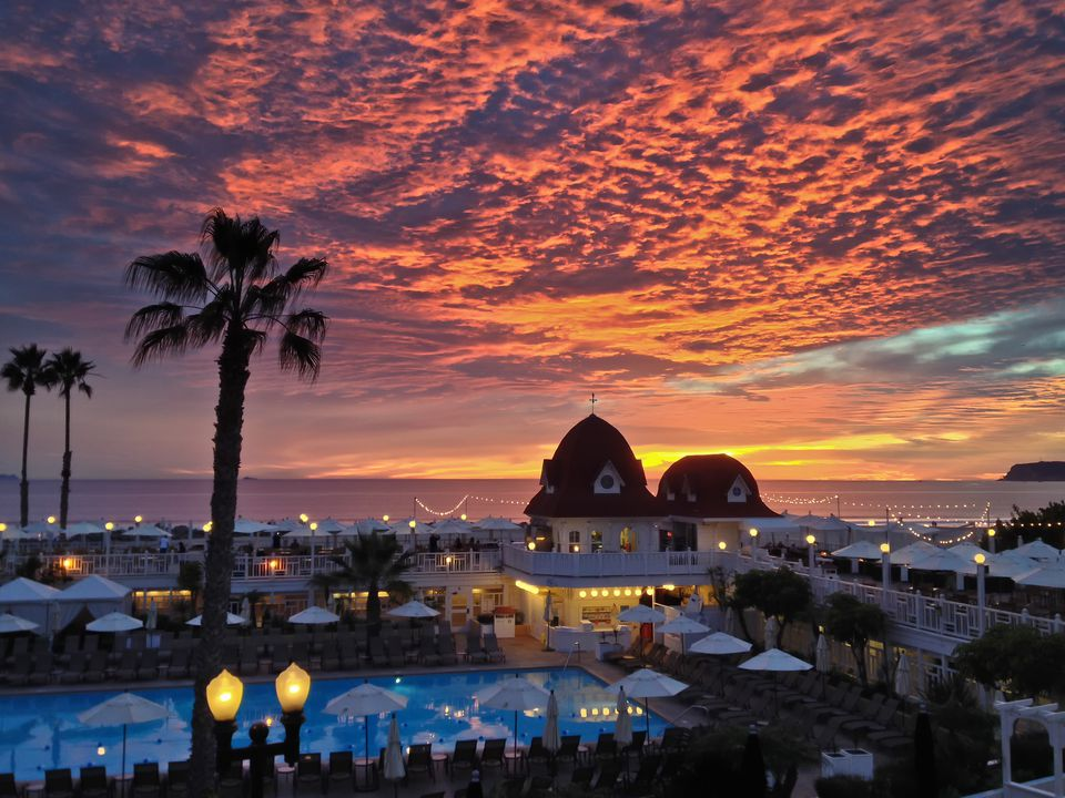 Sunset view above a bar at the Hotel Del Coronado.
