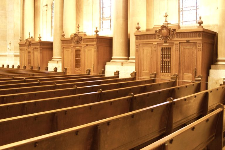 Pews and confessionals, Shrine of the Apostle Paul, Saint Paul, MN. (Photo © Scott P. Richert)