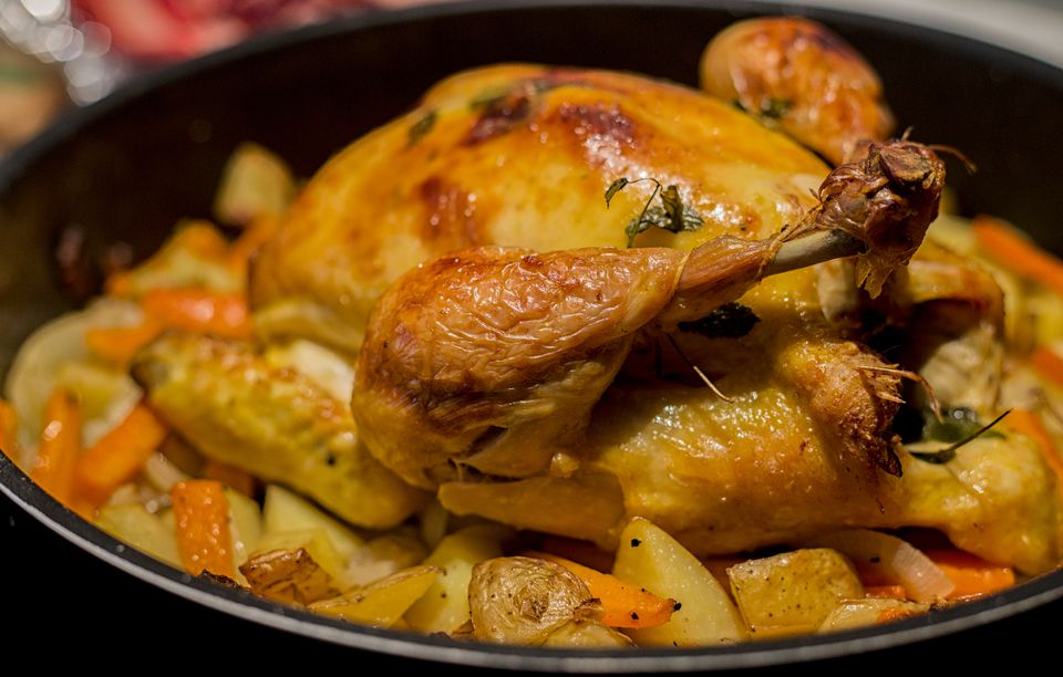 Close-up of roasted chicken in a pot