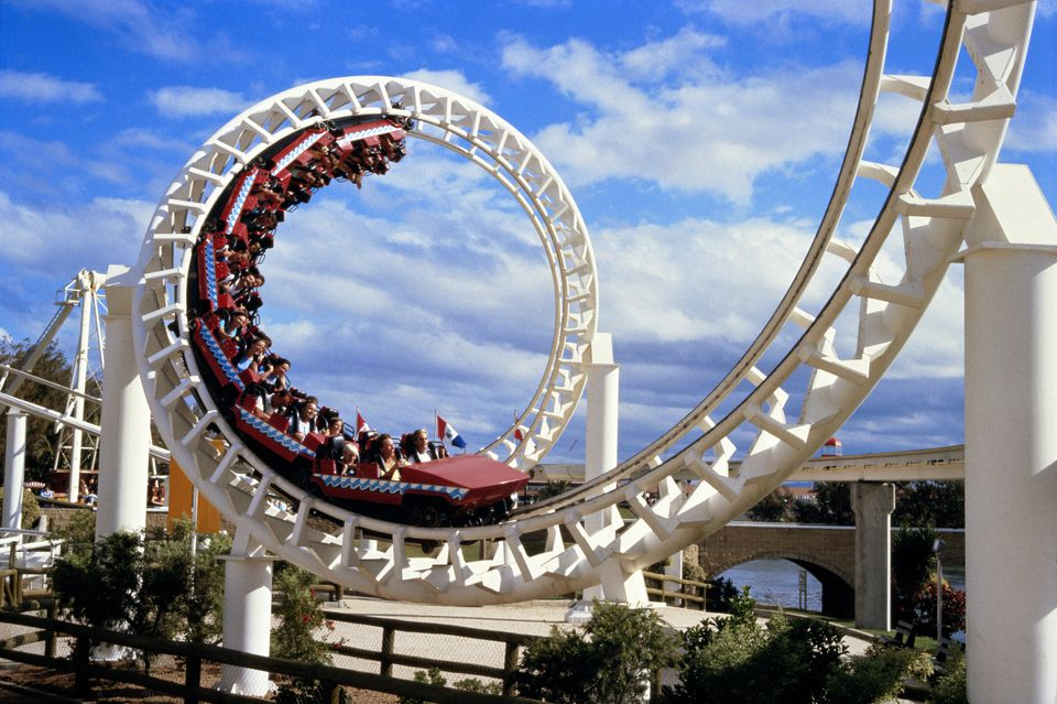 A rollercoaster at Seaworld.