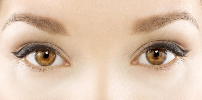 Tight shot of models eyes and eye makeup